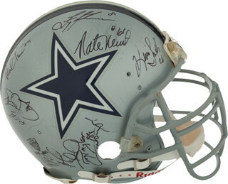 DALLAS COWBOYS - HELMET SIGNED CO-SIGNED BY: HERSCHEL WALKER, KEVIN SMITH, EMMITT SMITH, TROY AIKMAN, NATE NEWTON, DREW PEARSON, MARK TUINEI, REGGIE RUCKER, WADE WILSON, DAVE WIDELL