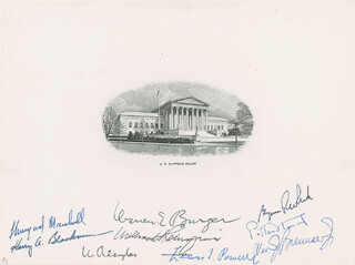 Autographs: THE WARREN E. BURGER COURT - ENGRAVING SIGNED CO-SIGNED BY: ASSOCIATE JUSTICE BYRON R. WHITE, CHIEF JUSTICE WARREN E. BURGER, ASSOCIATE JUSTICE LEWIS F. POWELL JR., ASSOCIATE JUSTICE WILLIAM O. DOUGLAS, ASSOCIATE JUSTICE POTTER STEWART, ASSOCIATE JUSTICE WILLIAM J. BRENNAN JR., ASSOCIATE JUSTICE THURGOOD MARSHALL, CHIEF JUSTICE WILLIAM H. REHNQUIST, ASSOCIATE JUSTICE HARRY A. BLACKMUN