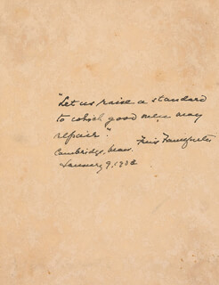 Autographs: ASSOCIATE JUSTICE FELIX FRANKFURTER - AUTOGRAPH QUOTATION SIGNED 01/09/1933