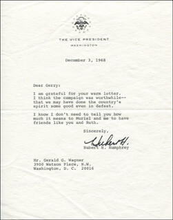 VICE PRESIDENT HUBERT H. HUMPHREY - TYPED LETTER SIGNED 12/03/1968