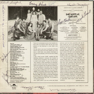 DON'T BOTHER ME, I CAN'T COPE PLAY CAST - RECORD ALBUM COVER SIGNED CO-SIGNED BY: MICKI GRANT, BEN HARNEY, HOPE CLARKE, ARNOLD WILKERSON, ALEX BRADFORD, ALBERTA BRADFORD, BOBBY THE BOBBY HILL HILL, LEONA JOHNSON, THOMMIE BUSH, MARIE THOMAS