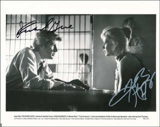 FINAL ANALYSIS MOVIE CAST - PRINTED PHOTOGRAPH SIGNED IN INK CO-SIGNED BY: KIM BASINGER, RICHARD GERE