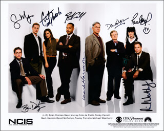NCIS TV CAST - PRINTED PHOTOGRAPH SIGNED IN INK CO-SIGNED BY: DAVID McCALLUM, MARK HARMON, PAULEY PERRETTE, COTE DE PABLO, MICHAEL WEATHERLY, SEAN MURRAY, BRIAN DIETZEN, ROCKY CARROLL
