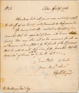 BRIGADIER GENERAL JOHN WILLIAMS - AUTOGRAPH LETTER SIGNED 09/19/1796
