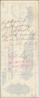 Autographs: SHERIFF JOHN H. SLAUGHTER - CHECK ENDORSED 05/20/1884