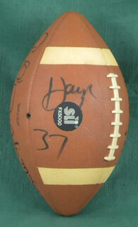 OAKLAND RAIDERS - FOOTBALL SIGNED CO-SIGNED BY: LESTER THE JUDGE HAYES, JERRY D. ROBINSON, CLIFF BRANCH, TODD J. CHRISTENSEN, ROD MARTIN, DOKIE WILLIAMS, DERRICK JENSEN, ODIS MCKINNEY