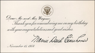 Autographs: FIRST LADY MAMIE DOUD EISENHOWER - TYPED NOTE SIGNED 11/15/1958