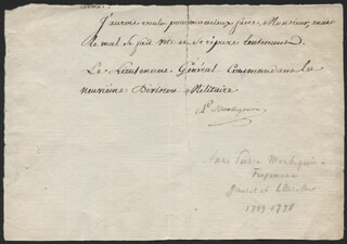 Autographs: MAJOR GENERAL ANNE-PIERRE (MARQUIS DE MONTESQUIOU-FÉZENSAC) - AUTOGRAPH LETTER FRAGMENT SIGNED
