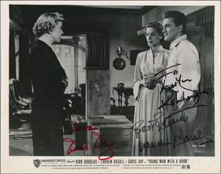 YOUNG MAN WITH A HORN MOVIE CAST - INSCRIBED PRINTED PHOTOGRAPH SIGNED IN INK CO-SIGNED BY: LAUREN BACALL, DORIS DAY, KIRK DOUGLAS