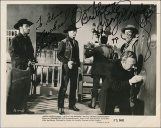 LAST OF THE BADMEN MOVIE CAST - AUTOGRAPHED INSCRIBED PHOTOGRAPH 1999 CO-SIGNED BY: GEORGE MONTGOMERY, MICHAEL ANSARA
