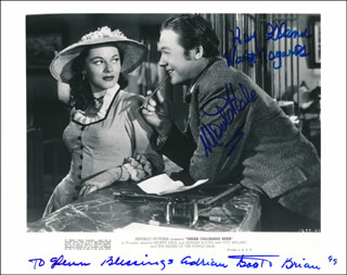 UNDER COLORADO SKIES MOVIE CAST - INSCRIBED PRINTED PHOTOGRAPH SIGNED IN INK 1999 CO-SIGNED BY: MONTE HALE, ADRIAN (LORNA GRAY) BOOTH