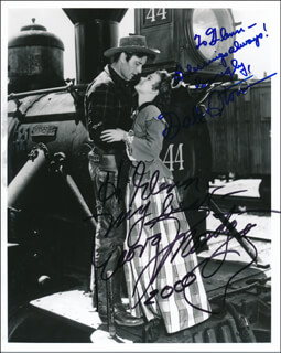 THE TEXAS RANGERS MOVIE CAST - AUTOGRAPHED INSCRIBED PHOTOGRAPH 2000 CO-SIGNED BY: GEORGE MONTGOMERY, GALE STORM