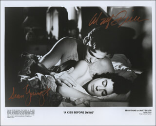 Autographs: A KISS BEFORE DYING MOVIE CAST - PHOTOGRAPH SIGNED CO-SIGNED BY: MATT DILLON, SEAN YOUNG