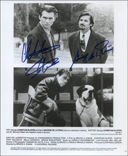 KUFFS MOVIE CAST - PRINTED PHOTOGRAPH SIGNED IN INK CO-SIGNED BY: CHRISTIAN SLATER, GEORGE DE LA PENA