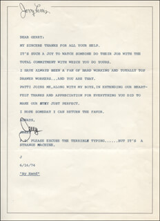 JERRY LEWIS - TYPED LETTER SIGNED 06/16/1974