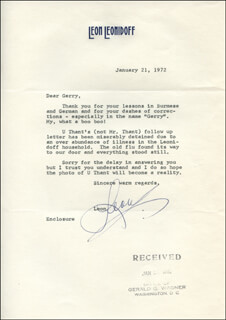 LEON LEONIDOFF - TYPED LETTER SIGNED 01/21/1972