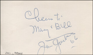 JAN GARBER - AUTOGRAPH NOTE SIGNED 1966