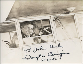 DOUGLAS WRONG WAY CORRIGAN - AUTOGRAPHED INSCRIBED PHOTOGRAPH 05/02/1942