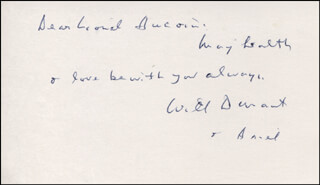 WILL DURANT - AUTOGRAPH NOTE SIGNED