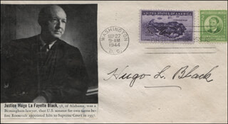Autographs: ASSOCIATE JUSTICE HUGO L. BLACK - FIRST DAY COVER SIGNED