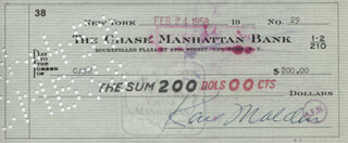 KARL MALDEN - AUTOGRAPHED SIGNED CHECK 02/24/1958