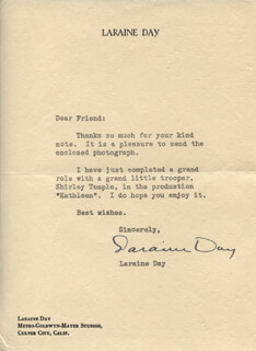 LARAINE DAY - TYPED LETTER SIGNED CIRCA 1941