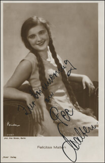 FELICITAS FEE MALTEN - AUTOGRAPHED SIGNED PHOTOGRAPH