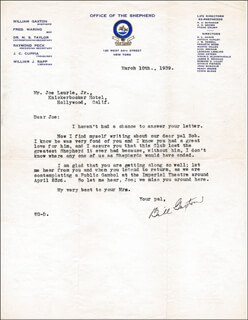 WILLIAM GAXTON - TYPED LETTER SIGNED 03/10/1939