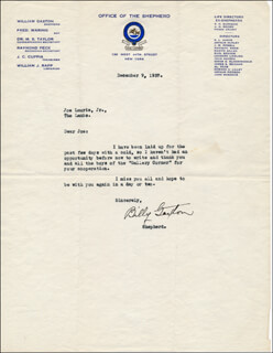 WILLIAM GAXTON - TYPED LETTER SIGNED 12/09/1937