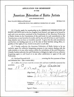 D.W. (DAVID LEWELYN WARK) GRIFFITH - APPLICATION SIGNED 04/23/1940