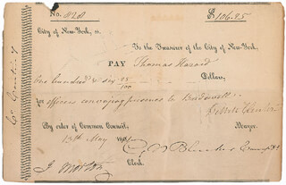 Autographs: GOVERNOR DEWITT CLINTON - DOCUMENT SIGNED 05/13/1801