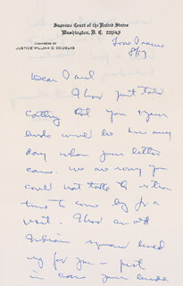 ASSOCIATE JUSTICE WILLIAM O. DOUGLAS - AUTOGRAPH LETTER SIGNED 08/17