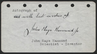 Autographs: JOHN HAYS HAMMOND JR. - AUTOGRAPH SENTIMENT SIGNED