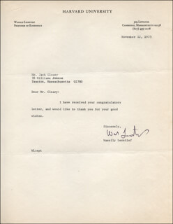Autographs: WASSILY LEONTIEF - TYPED LETTER SIGNED 11/12/1973
