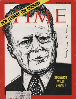 Autographs: CHANCELLOR WILLY BRANDT (GERMANY) - MAGAZINE COVER SIGNED