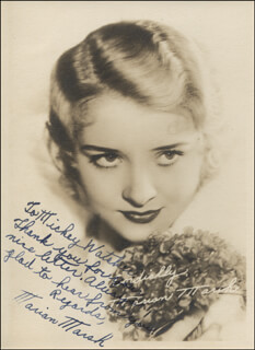 MARIAN MARSH - AUTOGRAPH NOTE ON PHOTOGRAPH SIGNED