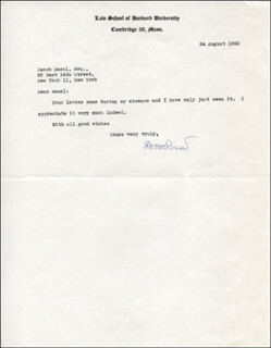 ROSCOE POUND - TYPED LETTER SIGNED 08/24/1962