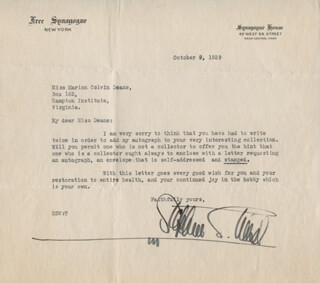 RABBI STEPHEN S. WISE - TYPED LETTER SIGNED 10/09/1929