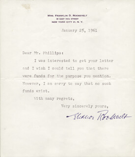 Autographs: FIRST LADY ELEANOR ROOSEVELT - TYPED LETTER SIGNED 01/25/1961