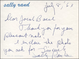 SALLY RAND - AUTOGRAPH NOTE SIGNED 07/08/1963