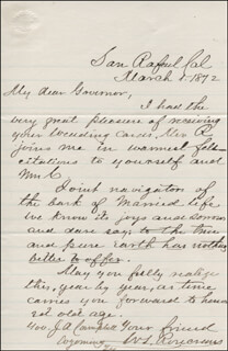 MAJOR GENERAL WILLIAM S. OLD ROSY ROSECRANS - AUTOGRAPH LETTER SIGNED 03/01/1872