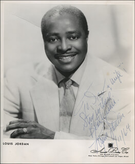 LOUIS JORDAN - AUTOGRAPHED INSCRIBED PHOTOGRAPH 04/11/1964
