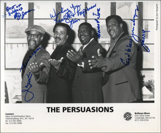 THE PERSUASIONS - AUTOGRAPHED SIGNED PHOTOGRAPH CO-SIGNED BY: THE PERSUASIONS (JERRY LAWSON), THE PERSUASIONS (BERNARD B.J. JONES), THE PERSUASIONS (JIMMY BRO HAYES), THE PERSUASIONS (JOE SWEET JOE RUSSELL), JAYOTIS WASHINGTON