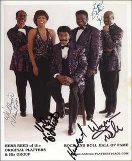 THE PLATTERS - AUTOGRAPHED SIGNED PHOTOGRAPH CO-SIGNED BY: THE PLATTERS (HERB REED), THE PLATTERS (BILLIE COX), THE PLATTERS (WILLIAM NEWTON), THE PLATTERS (VALERIE VICTORIA), THE PLATTERS (WAYNE MILLER)