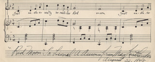 MAX KORTLANDER - INSCRIBED AUTOGRAPH MUSICAL QUOTATION SIGNED 08/22/1945