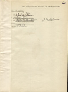 THOMAS A. EDISON - CORPORATE MINUTES SIGNED 09/07/1920 CO-SIGNED BY: GOVERNOR CHARLES EDISON, STEPHEN B. MAMBERT, HARRY F. MILLER, J. W. ROBINSON