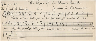 JAMES ALEXANDER BRENNAN - INSCRIBED AUTOGRAPH MUSICAL QUOTATION SIGNED 02/27/1940