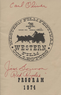 Autographs: MYRON D. HEALEY - INSCRIBED PROGRAM SIGNED CO-SIGNED BY: PEGGY STEWART, JOHNNY BOND, EDDIE DEAN, MONTE HALE, PENNY EDWARDS, DAVID SHARPE, I. STANFORD JOLLEY, LASH LA RUE, BOB STEELE, WILLIAM BILLY BENEDICT, JIM RED RYDER BANNON, RUSSELL HAYDEN, DOROTHY FAY, EDDY WALLER