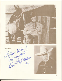 Autographs: BOB (ROBERT) ALLEN - INSCRIBED PROGRAM SIGNED CIRCA 1976 CO-SIGNED BY: JOHNNY BOND, EDDIE DEAN, MONTE HALE, TRIS COFFIN, GEORGE J. LEWIS, MARSHALL REED, JENNIFER HOLT, REB (LAFAYETTE) RUSSELL, IRON EYES CODY, REX ALLEN, AL HOXIE, RAY CRASH CORRIGAN, RAY WHITLEY, TERRY FROST, JAMES WARREN, IRIS MEREDITH, FOY WILLING