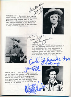 TEX RITTER - INSCRIBED PROGRAM SIGNED CO-SIGNED BY: PEGGY STEWART, MONTE HALE, KIRBY GRANT, LASH LA RUE, RUSSELL HAYDEN, DOROTHY FAY